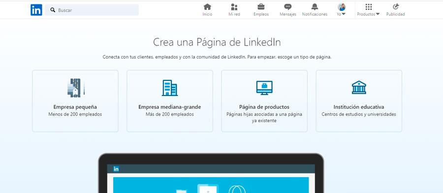 Opciones de página de empresa en LinkedIn